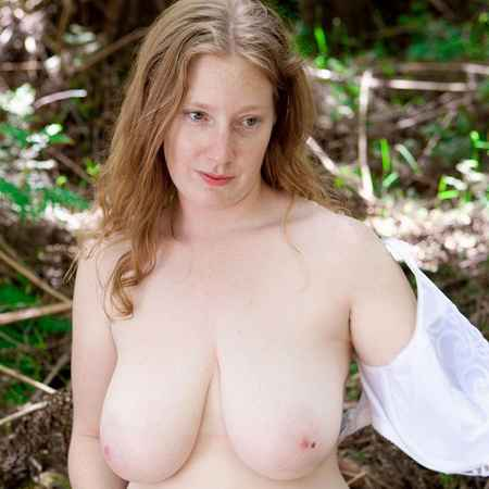 Curvy Ann K.takes off her clothes in the woods - Abby Winters