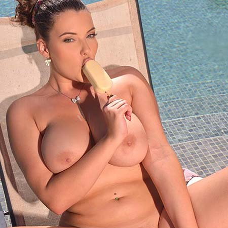Busty Cherry Blush eats ice cream by the pool