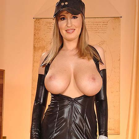 Edo's huge tits in tight leather