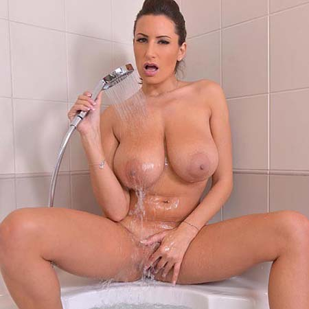 Sensual Jane gets nude and wet in the bathroom